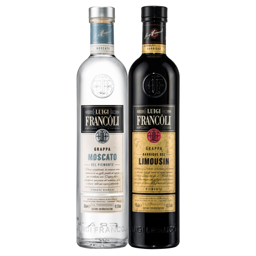 thumbnail of 2 coloured Grappa bottles on a transparent background